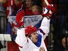 Ruský hokejista Sergej Širokov otevřel skóre finálového utkání MS s Finskem.