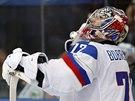 Rusk� brank�� Sergej Bobrovskij kr�tce po inkasovan�m g�lu.