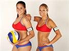Plážové volejbalistky Martina Bonnerová (vpravo) a Barbora Hermannová