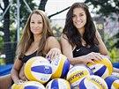 Plážové volejbalistky Martina Bonnerová (vlevo) a Barbora Hermannová