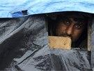 Jeden z obyvatel tábora v Calais, který odmítl odejít.