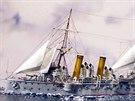 Rekonstrukce podoby křižníku Zenta. Plachty se spíš než pro dodatečný pohon...
