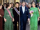 Nizozemská královna Beatrix v roce 1981 a současná královna Máxima v roce 2014