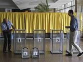 Volební místnost v Dněpropetrovsku (25. května 2014)