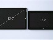 Ukázka rozdílu mezi stávající generací tablet� Surface (vpravo) a novým Surface...