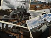 Snímky z 3D aplikace zobrazující křižník Zenta