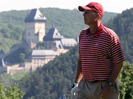 Ivan Lendl při golfu na Karlštejně.