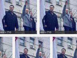 """Obrázky """"hajlujícího"""" ukrajinského premiéra Arsenije Jaceňuka. Nebo snad..."""