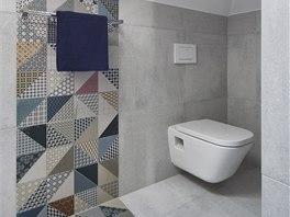 Obklady Deco připomínají patchwork, s šedým Cementem se skvěle doplňují.