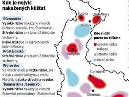 Mapa nejrizikovějších lokalit dle množství nakažených klíšťat v Olomouckém...