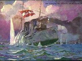 Zánik Zenty na dobové armádní pohlednici