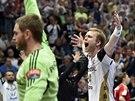 Házenkář Kielu Aron Palmarsson slaví postup do finále Ligy mistrů, jeho klub...