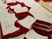 Pleas: Cutterem vyřezané díly budoucích trenýrek, papír navrchu je šablona,...