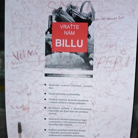 Petice studentů za znovuotevření Billy.