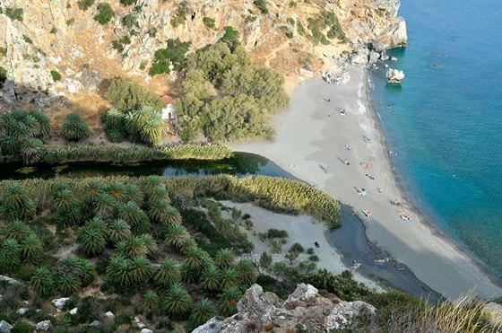 Pláž u ústí potoka Megalopotamos na Krétě