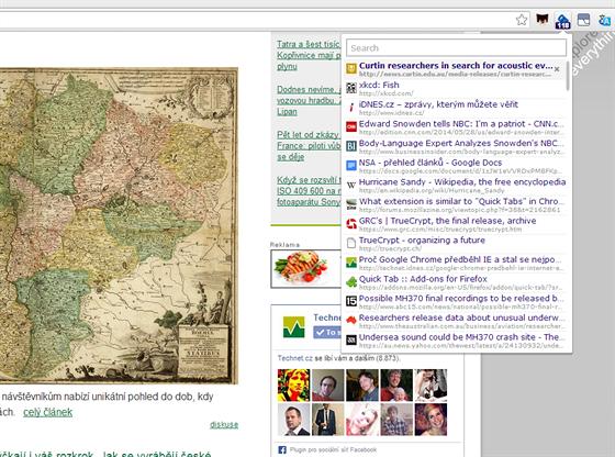 Rozšíření Quick Tabs do prohlížeče Chrome vám ukáže, kolik tabů máte právě...