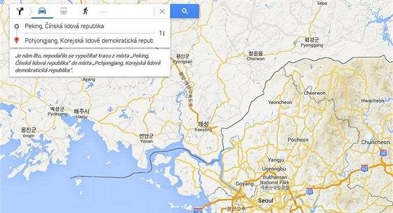 S cestou z Pchongjangu do Pekingu zat�m Google neporad� (2. �ervna 2014).