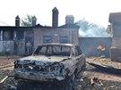 Továrna na nábytek ve Slavjansku, kterou zasáhl dělostřelecký granát odpálený...