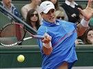 Americký tenista John Isner returnuje v utkání 4. kola Roland Garros proti...