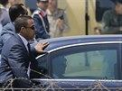 Bývalý šéf armády Abdal Fattáh Sísí přijíždí na inauguraci v budově ústavního...