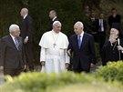Pape� Franti�ek p�ijal ve Vatik�nu prezidenty Izraele a Palestiny �imonem...