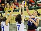 Aneta Havlíčková se pokouší přelstít slovinskou obranu.