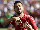 Španělský útočník David Villa slaví svůj gól proti Salvadoru.