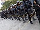 Brazilsk� po��dkov� policie u stanice Ana Rosa (Sao Paulo, 9. kv�tna 2014).