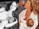 Natalia Vodianová, Gisele Bündchenová a Miranda Kerrová při kojení