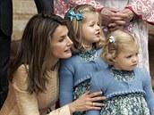 Španělská princezna Letizia s dcerami Sofií a Leonor