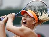 VÝKŘIK. Maria Šarapovová v osmifinále Roland Garros.