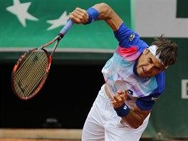 Španělský tenista David Ferrer podává v utkání 4. kola Roland Garros.