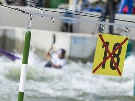 Závodní trať mistrovství Evropy ve vodním slalomu ve Vídni, kterou stavěl