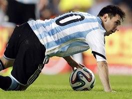 Argentinský kapitán Lionel Messi během přípravného utkání.