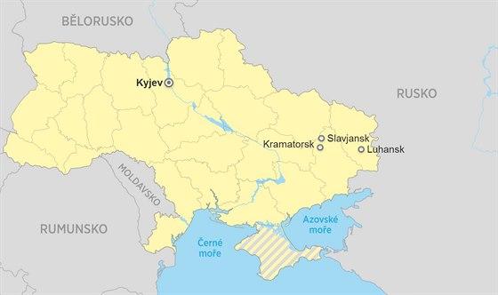 Mapa Ukrajiny Kramatorsk Slavjansk Luhansk Kyjev