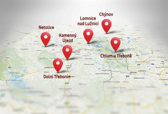 Soutěžní hra Najdi Turbo Internet - mapa obcí, kde najdete modemy