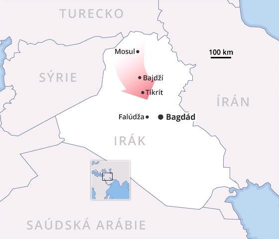 MAPA: Postup islamistů v Iráku