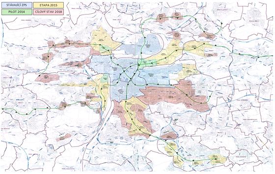 MAPA: Nová koncepce zón placeného stání v Praze