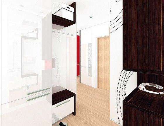 Vizualizace: pohled od vstupních dveří do předsíně. Vlevo stojí skříně s dvířky