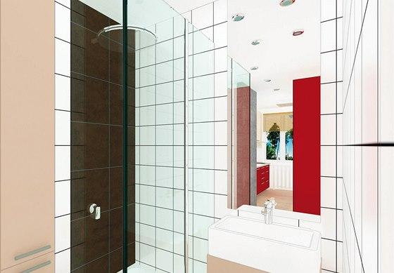 Vizualizace: koupelna s vyzděným sprchovým koutem a skleněnými dveřmi na míru.
