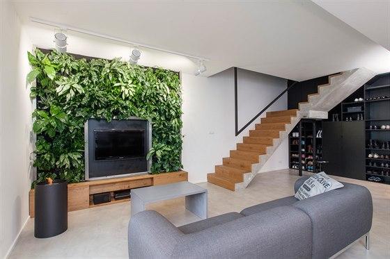 Zelená stěna má vlastní zavlažovací systém.