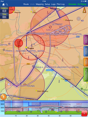 Pl�n letu z programu SkyDemon v�etn� roz�azen� p�ed p�ist�n�m.