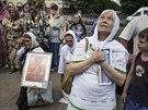 Věřící z Luhansku se modlí za mír na východě Ukrajiny (10. června 2014)
