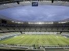 Fotbalisté Mexika se na stadionu ve Fortaleze připravují na souboj s Brazílií.