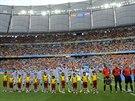Španělští fotbalisté před zápasem s Nizozemskem