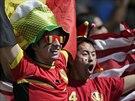 Belgičtí fanoušci během zápasu s Alžírskem na MS 2014