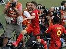 Belgičan Dries Mertens se raduje z gólu proti Alžírsku, který znamenal...
