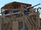 Věž obrněného vozidla MRAP, které používají čeští vojáci při patrolách do okolí...