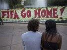 Demonstrace během mistrovství světa v Brazílii, v Riu de Janieru před utkáním...