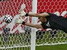 SKOK. Íránský brankář Alírezá Haghíghí vyráží míč v utkání proti Nigérii.